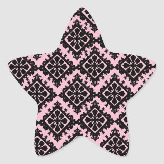 light pink and black flower diamond damask stickers