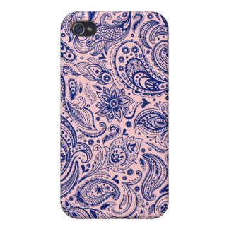 Light Pink And Blue Floral Paisley Design iPhone 4/4S Covers