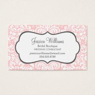 Light Pink and Charcoal Elegant Floral Damask Business Card