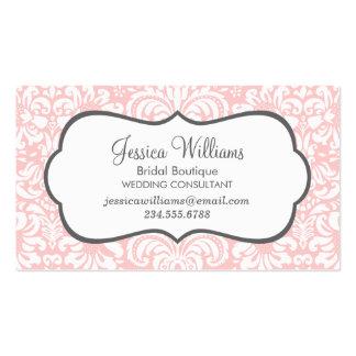 Light Pink and Charcoal Elegant Floral Damask Pack Of Standard Business Cards