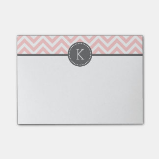 Light Pink and Gray Chevron Monogram Post-it Notes