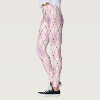 Light Pink and Purple Argyle Pattern Leggings