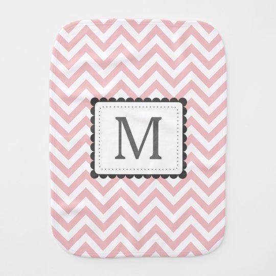 Light Pink And White Chevron Custom Monogram Burp