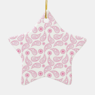 Light Pink and White Paisley Pattern Ceramic Star Decoration