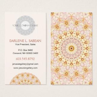 Light Pink and Yellow Floral Kaleidoscopic Mandala Business Card