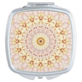 Light Pink and Yellow Floral Mandala Art Compact Mirror