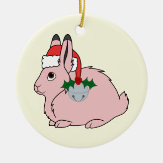 Light Pink Arctic Hare - Santa Hat & Silver Bell Christmas Ornament