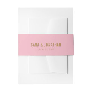 Light Pink Background and Brown Text Wedding Invitation Belly Band