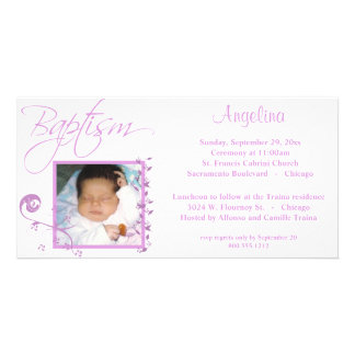 Light Pink Baptism Photo Invitation Picture Card