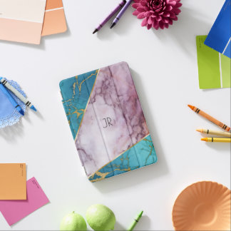 Light Pink & Blue Marble texture Geometric Design iPad Mini Cover