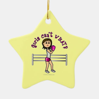Light Pink Boxer Double-Sided Star Ceramic Christmas Ornament