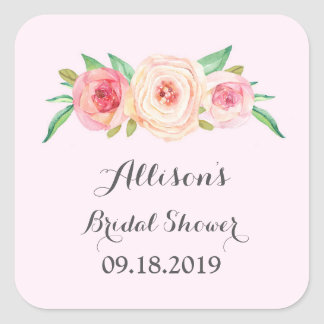 Light Pink Bridal Shower Favor Tag Square Sticker