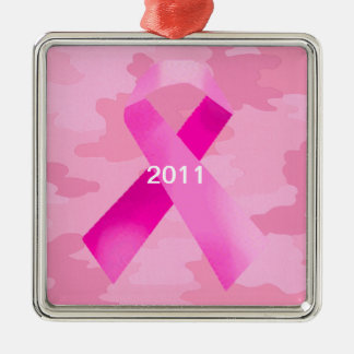 Light Pink Camouflage Pink Ribbon Date Ornament
