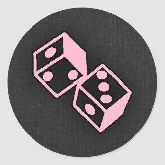 Light Pink Casino Dice Round Sticker
