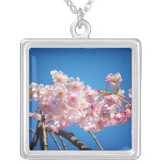 Light Pink Cherry Blossoms On A Branch Square Pendant Necklace