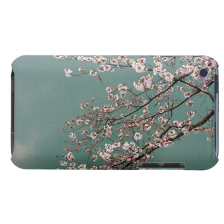 Light pink cherry blossoms on turquois background iPod touch case