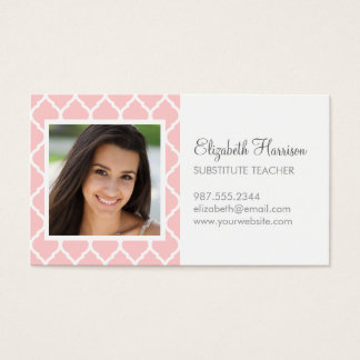 Light Pink Chic Moroccan Lattice Photo Business Card