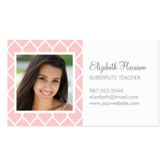 Light Pink Chic Moroccan Lattice Photo Pack Of Standard Business Cards