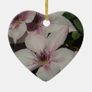 Light Pink Clematis Blossom Ceramic Heart Decoration