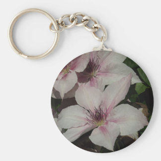 Light Pink Clematis Blossom Basic Round Button Key Ring