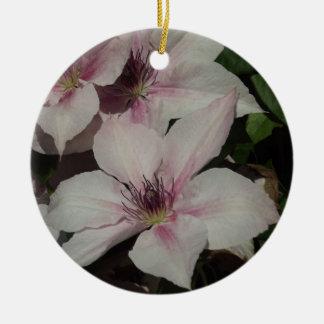 Light Pink Clematis Blossom Round Ceramic Decoration