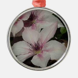 Light Pink Clematis Blossom Silver-Colored Round Decoration