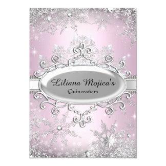 Light Pink Crystal Snowflake Princess Quinceanera 13 Cm X 18 Cm Invitation Card