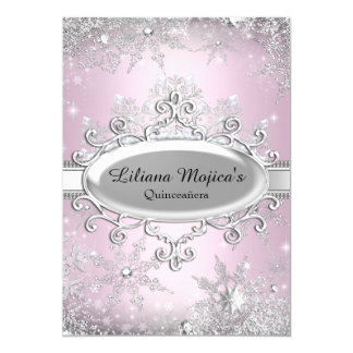 "Light Pink Crystal Snowflake Princess Quinceanera 5"" X 7"" Invitation Card"