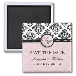 Light Pink Damask Wedding Save The Date Magnet