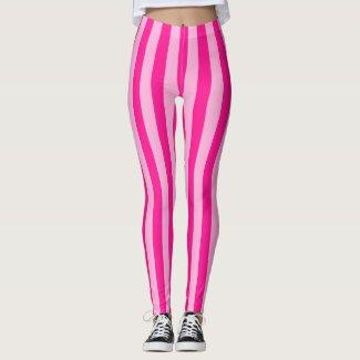 Light Pink & Deep Pink Stripes Leggings