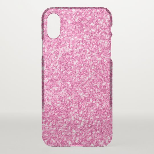 Light Pink Faux Glitter Design iPhone X Case