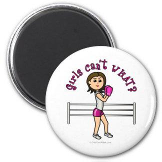 Light Pink Female Boxing 6 Cm Round Magnet