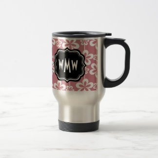 Light Pink Floral Pattern Black Custom Monogram 15 Oz Stainless Steel Travel Mug