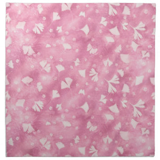 Light Pink Ginkgos and Flowers Cloth Napkins