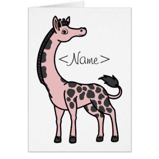 Light Pink Giraffe with Black Spots Greeting Card