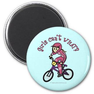 Light Pink Girls BMX Refrigerator Magnet