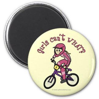 Light Pink Girls BMX Fridge Magnets