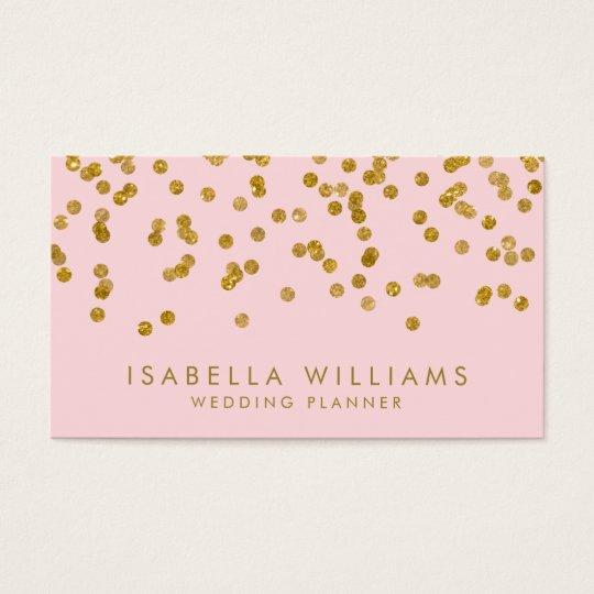 Light Pink & Gold Foil Confetti Business Card