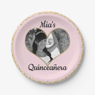 Light Pink & Gold Glitter Heart Photo Personalized Paper Plate