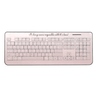 Light Pink Gradient // Motivational Quote Script Wireless Keyboard