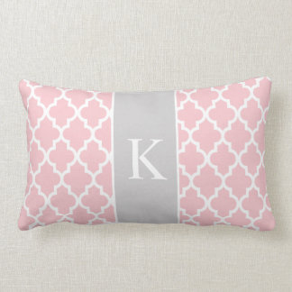 Light Pink Grey Moroccan Custom Monogram Lumbar Cushion