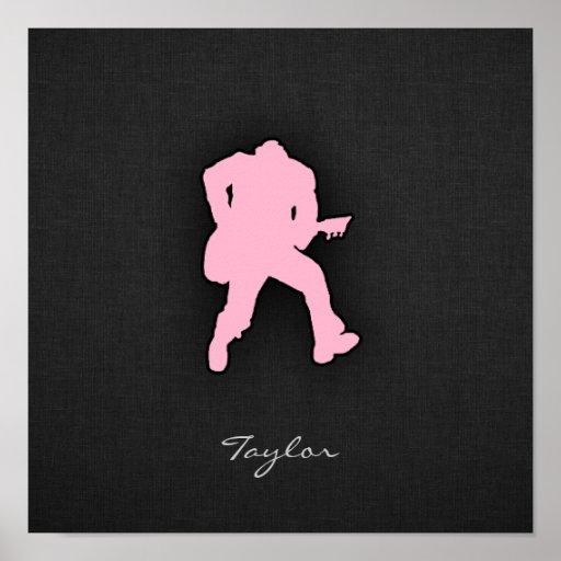 Light Pink Guitar Player Poster