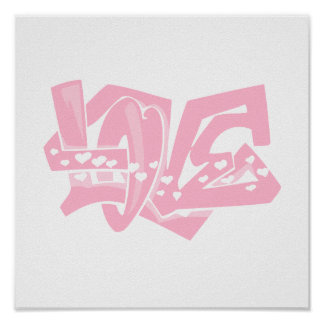 Light Pink Heart Graffiti Poster