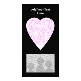 Light Pink Heart. Patterned Heart Design. Customized Photo Card