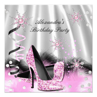 Light Pink High Heels Silver Birthday Party Card