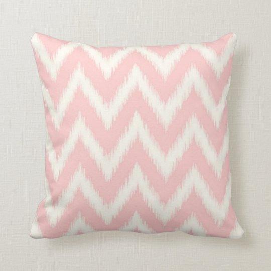 Light pink ikat chevron cushion