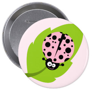 Light Pink Ladybug 10 Cm Round Badge