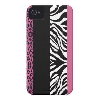 Light Pink Leopard and Zebra Custom Animal Print iPhone 4 Covers