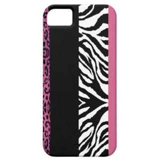 Light Pink Leopard and Zebra Custom Animal Print iPhone 5 Cover