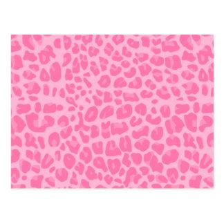 light pink leopard print pattern postcard